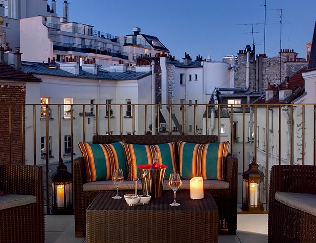 Les Jardins de Mademoiselle Hôtel & Spa - Terrasse de nuit